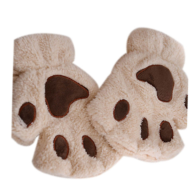Plush Cat Paws Fingerless Novelty Gloves for Cool Weather or Cosplay - Unique Cat Gifts