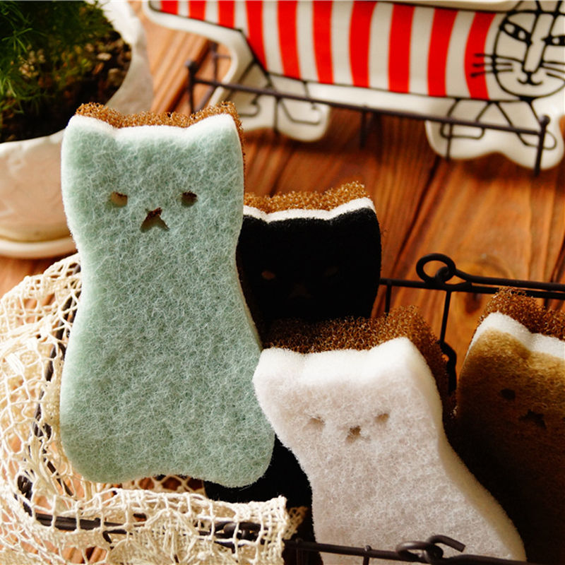 Clean as a Kitty Cute Cat Shaped High-Density Scouring Sponge Pads - 4pcs/Set - Unique Cat Gifts