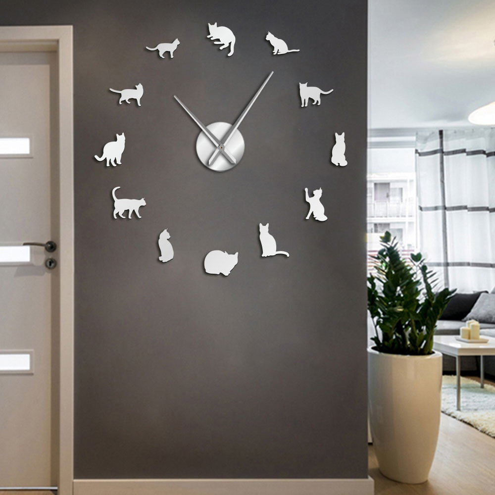 Unique Cats Giant Silhouette DIY Playful Cats Clock - Unique Cat Gifts