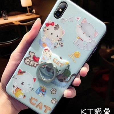 Meowvolous Embossed Drop-Proof Cat Case With Ring Bracket For iPhone 6, 6s, 7, 8 Plus, XS max, X 10 - Unique Cat Gifts