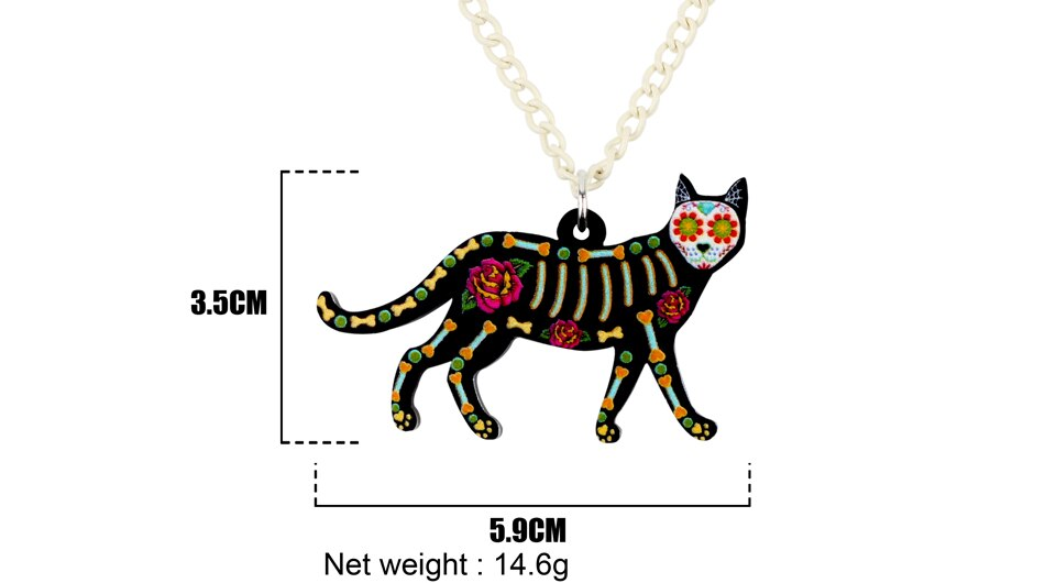 Art Deco Sugar Skull and Skeleton Walking Cat Necklace - Unique Cat Gifts