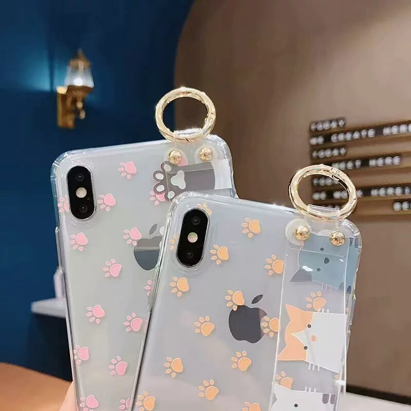 Transparent Paws for Alls Hand Strap Phone Case For iPhones - Unique Cat Gifts