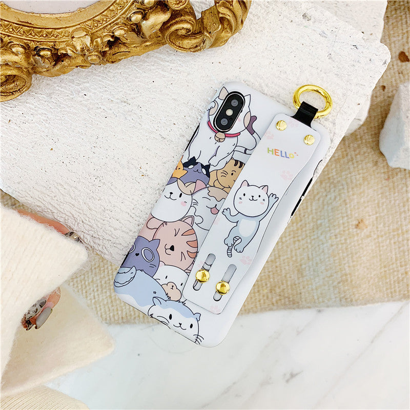 NEW! Fitted Crazy Cartoon Cats iPhone Cases With Hand Strap - Unique Cat Gifts
