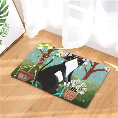 Cat-ified Contemporary Art Anti-Slip Colorful Cat Print Mats - Unique Cat Gifts