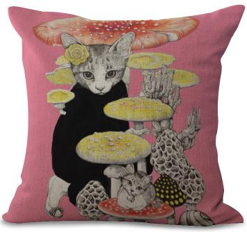Fun Loving Felines Printed Cotton Linen Throw Pillow Covers - Unique Cat Gifts