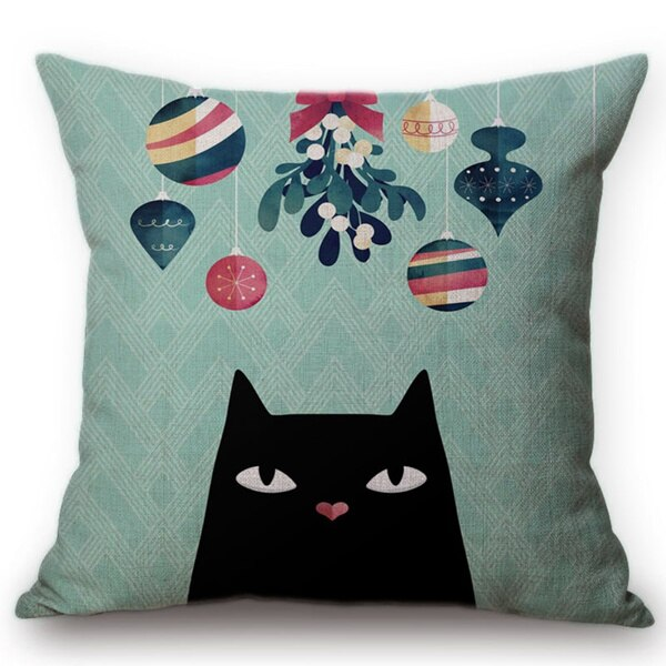 Crazy Kitty Cat Hand Drawn Decorative Cushion Pillow Covers - Unique Cat Gifts