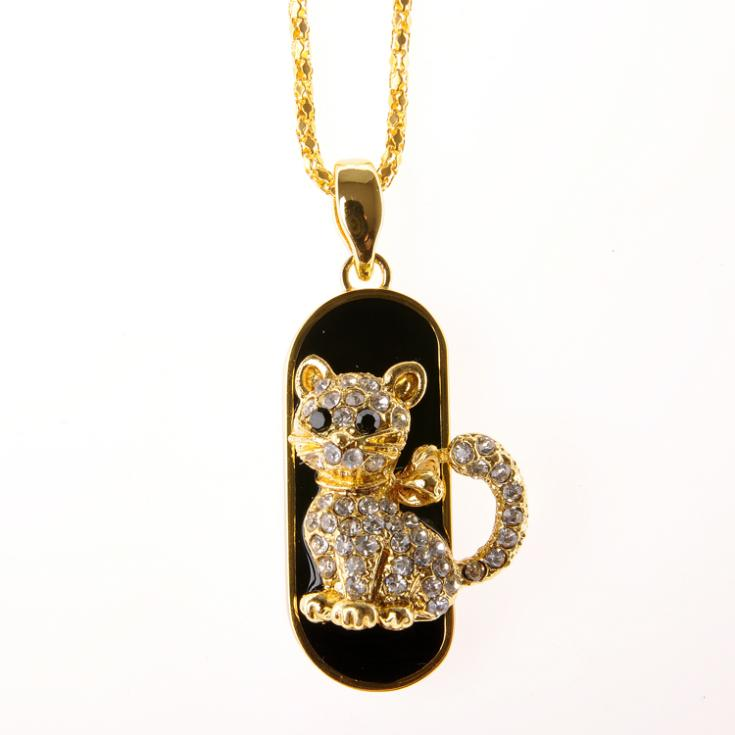 Crystal Cat Hidden USB Flash Drive Pendant Necklace - Unique Cat Gifts