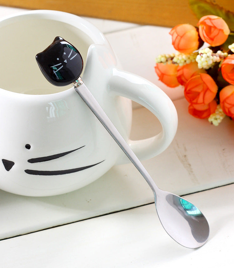 Fat Head Cat Head Mugs With Metal Spoon - 1 ea. - Unique Cat Gifts