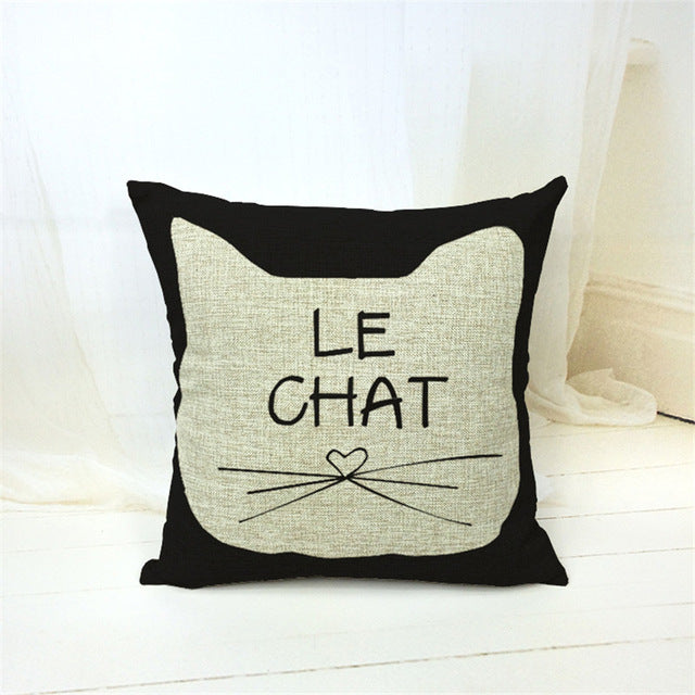 European Fashion Crazy Cat Decorative Throw Pillow Cover - Unique Cat Gifts