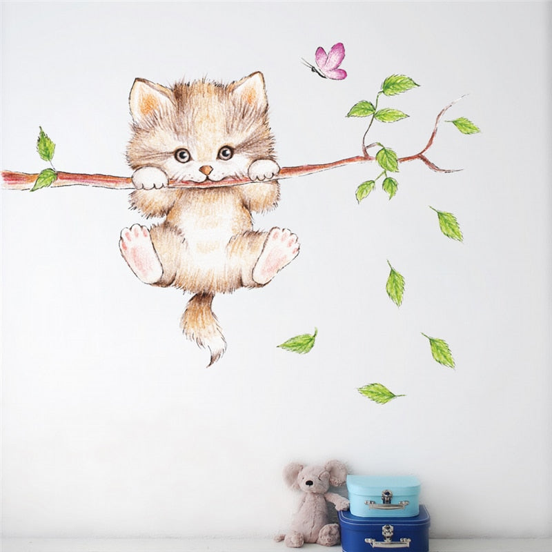 DIY Cute Cat Hanging Onto a Tree Branch Chasing Butterfly Wall Stickers for Kids Rooms - Unique Cat Gifts