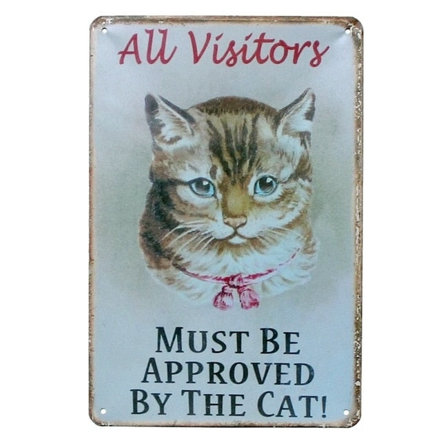 Funny Metal Tin Type Vintage Cat Wall Art - Unique Cat Gifts