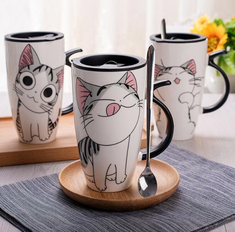 Schmokin' Grey Kitty Large Ceramic Mug With Lid & Spoon - Unique Cat Gifts