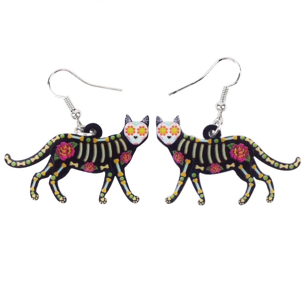 Walking Skeleton Cat with Sugar Skull Head Earrings - Unique Cat Gifts