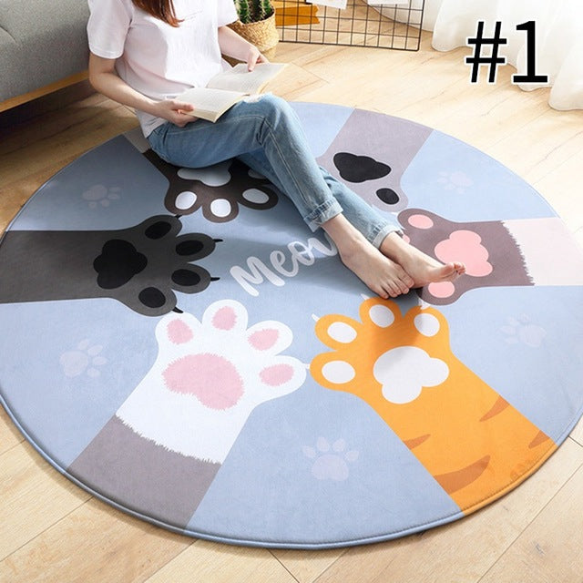 Meowers Drinking Cats or Paws High Five Round Floor Mat - Unique Cat Gifts