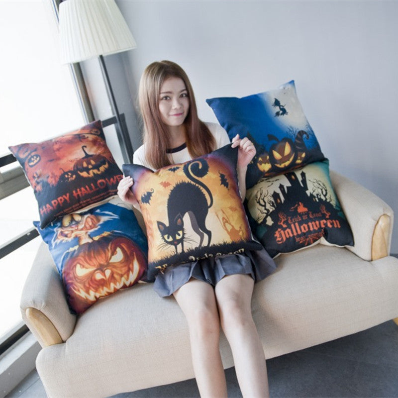 Halloween Cats Cotton Linen Decorative Cushion Cover - Unique Cat Gifts