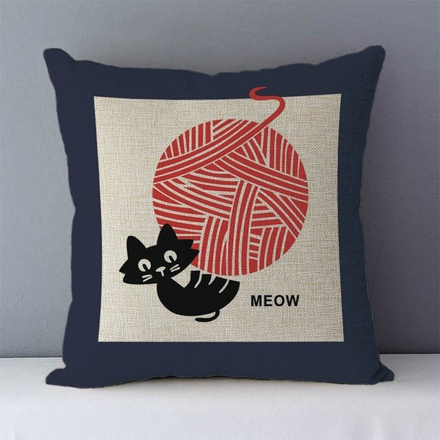 Unique and Whimsical Kitty Print Cotton Linen Pillow Covers - Unique Cat Gifts