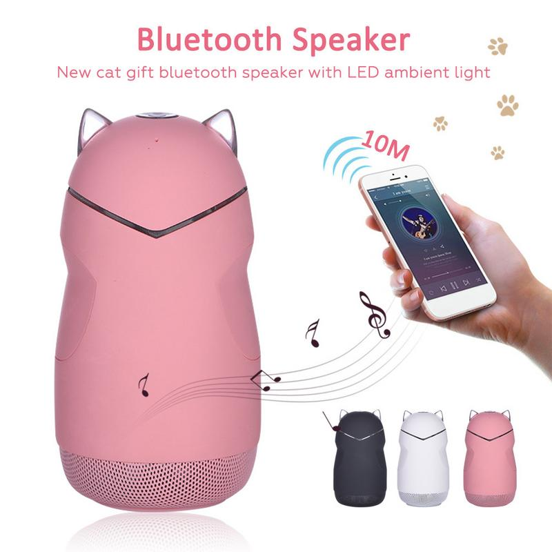 Cool Cat Bluetooth Speaker With LED Atmosphere Light and Subwoofer Wireless Speaker - Unique Cat Gifts
