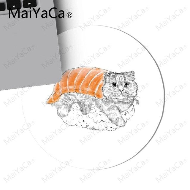 Persian Sushi Cat Round Mousepad - Unique Cat Gifts