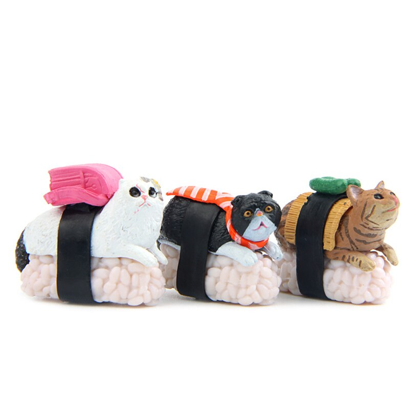 Deee-ricious Fur-Ball Mini Sushi Cat Toy Figurines - 5pc Set - Unique Cat Gifts