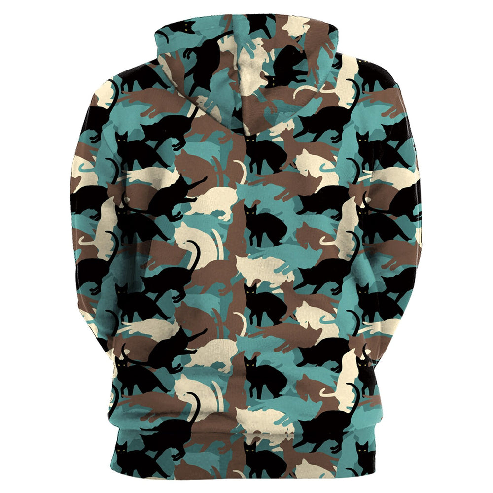 Woman's Kitty Camo Camouflage Cat Print Hoodie - Unique Cat Gifts