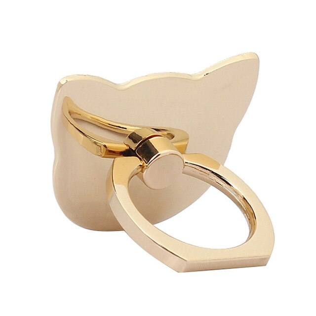 Metallic Classy Kitty Cat Head Metal Finger Ring and Stand For Mobile Phones - Unique Cat Gifts