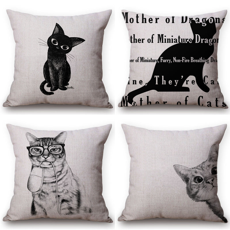 Funny Black and Tabby Cat Decorative Cotton Linen Square Pillow Covers - Unique Cat Gifts