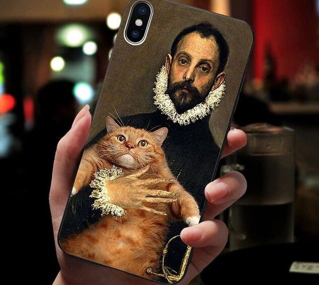 Famous Paintings? Soft Silicone Phone Cover for iPhone 6S, 6plus 7, 7plus, 8, 8Plus - Unique Cat Gifts