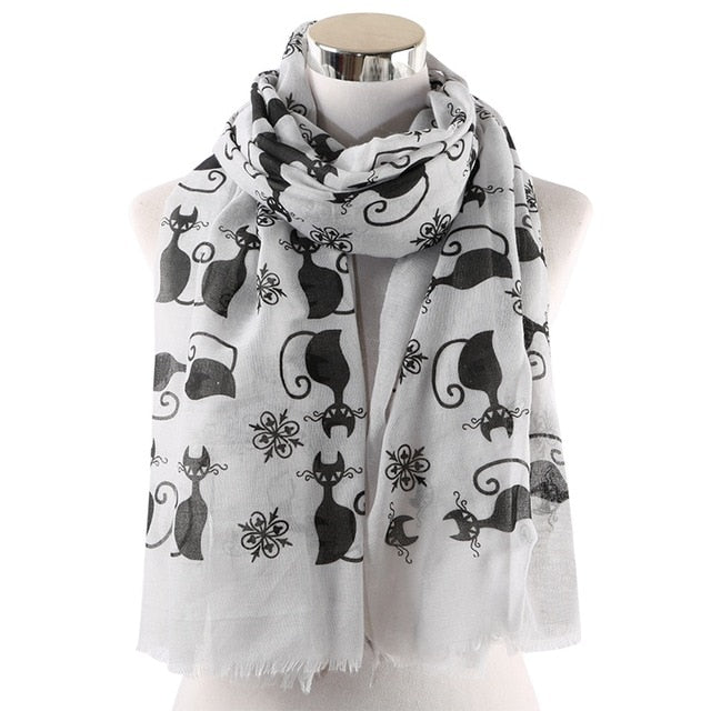 Chat Noir Style Black Cat Polyester Scarf - Unique Cat Gifts