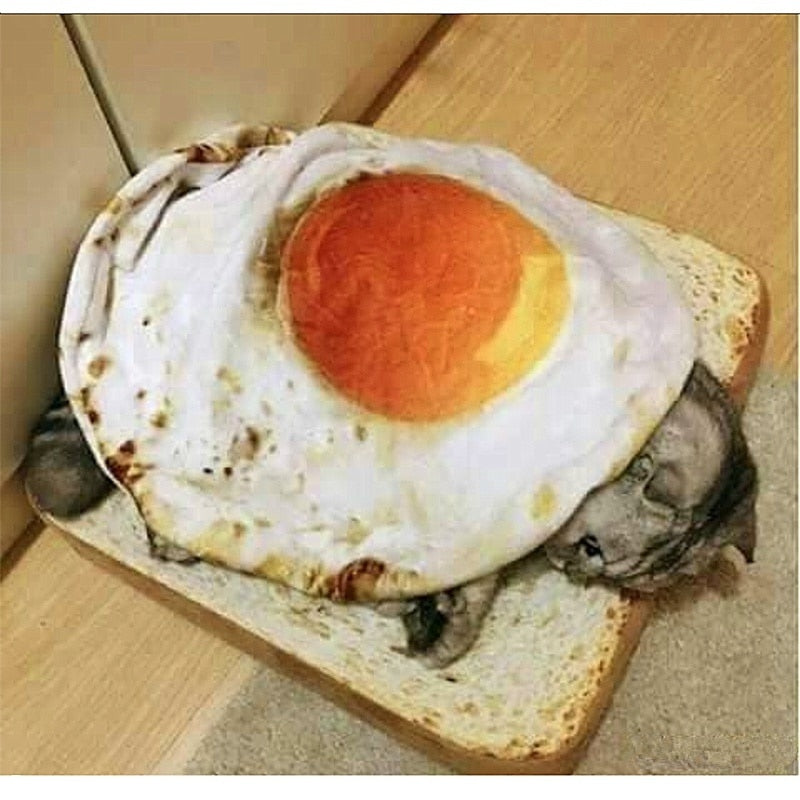 Cute And Durable Warm Poached Egg Blanket Cat Blanket (Toast Mat NOT Included) - Unique Cat Gifts