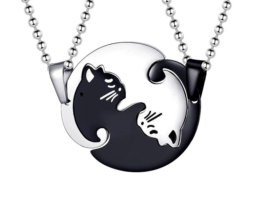Ying Yang Matching Cat Pendants Couple Necklaces - Unique Cat Gifts