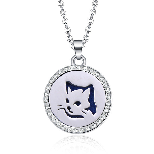Rinestone Cat Aromatherapy Essential Oil Diffuser Locket Pendant Necklace - Unique Cat Gifts