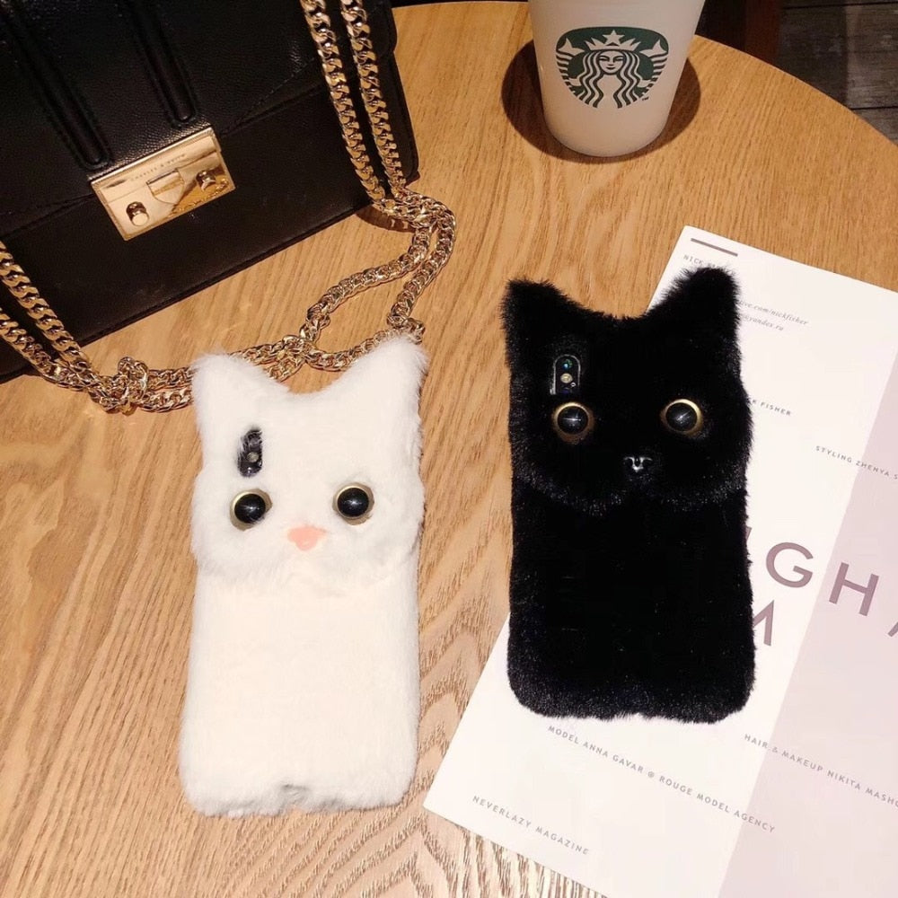 Mr Fluffy Black or White 3D Plush Fur Cat Case For iPhones - 6, 6S, 7, and 8 Plus - Unique Cat Gifts