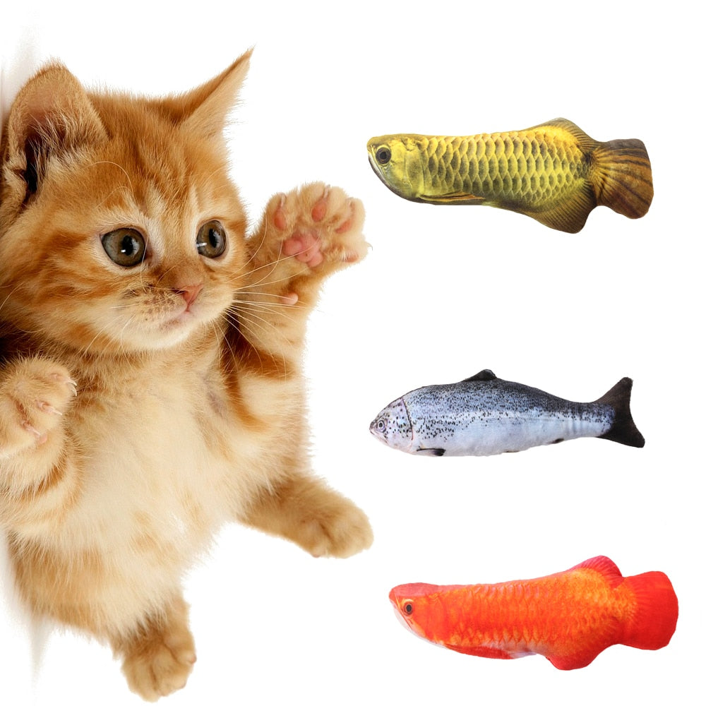 Mmmmm Fish! Artificial Fishes Plush Cat Toy with Mint Catnip - Unique Cat Gifts