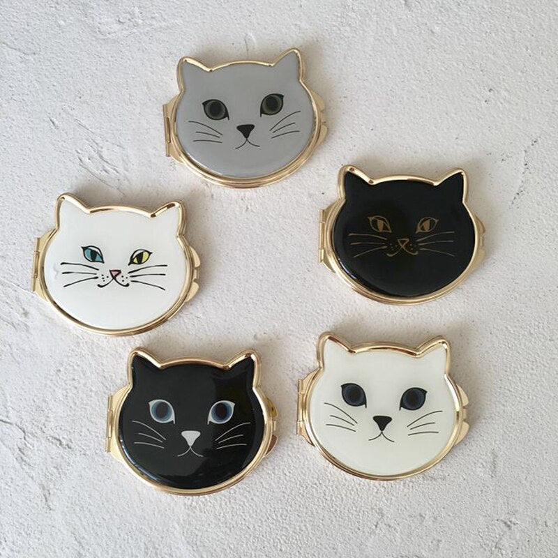 What You Looking At? Metal Cat Face Double Sided Folding Compact Pocket Mirror - Unique Cat Gifts