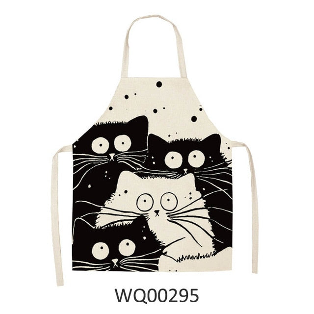 Whimsical & Funny Black Cat Cotton Kitchen Aprons - Unique Cat Gifts