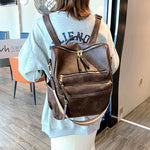 Load image into Gallery viewer, BPH016 Retro large capacity pu leather school bag anti theft travel backpack women