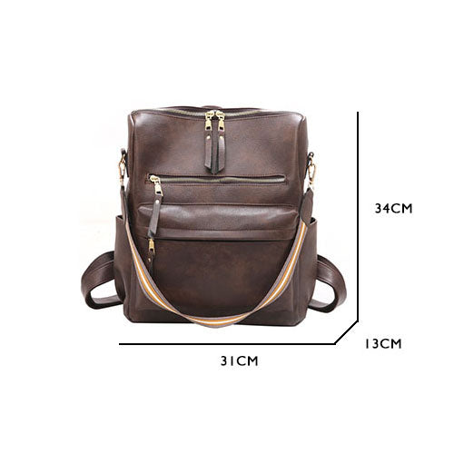 BPH016 Retro large capacity pu leather school bag anti theft travel backpack women