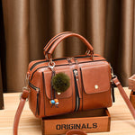 Load image into Gallery viewer, CB222 Guangzhou sell well fashion lady pompom pendant tote handbag leather women handbags