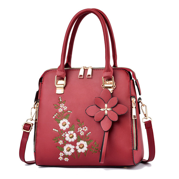 CB329 Fashion flower design embroidery hand bags fancy handbags for women