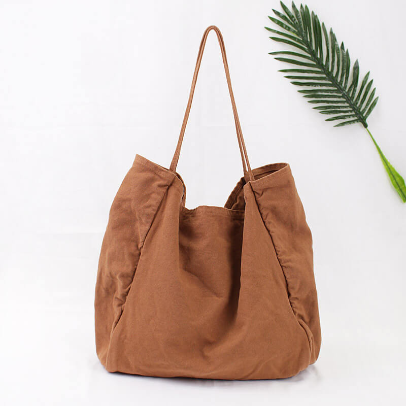 CG010 Fashion plain shopping canvas shoulder bag large handbags for women