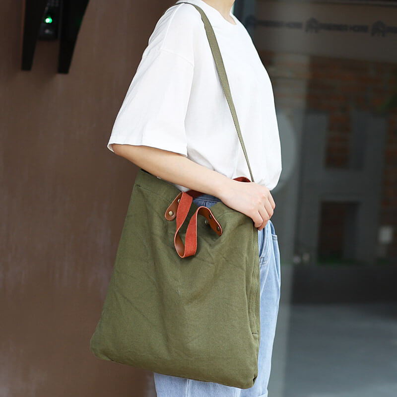 CG016 Custom logo vintage casual women canvas crossbody bag shoulder