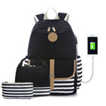 Load image into Gallery viewer, CVB008 New 2020 waterproof usb charging 3 in 1 backpacks set school bags with lunch bags