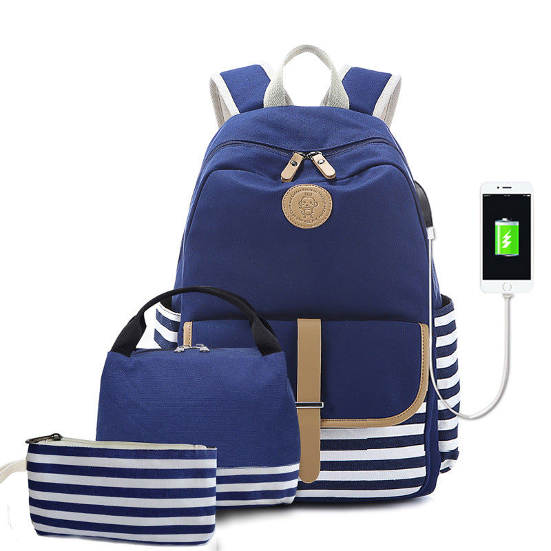 CVB008 New 2020 waterproof usb charging 3 in 1 backpacks set school bags with lunch bags