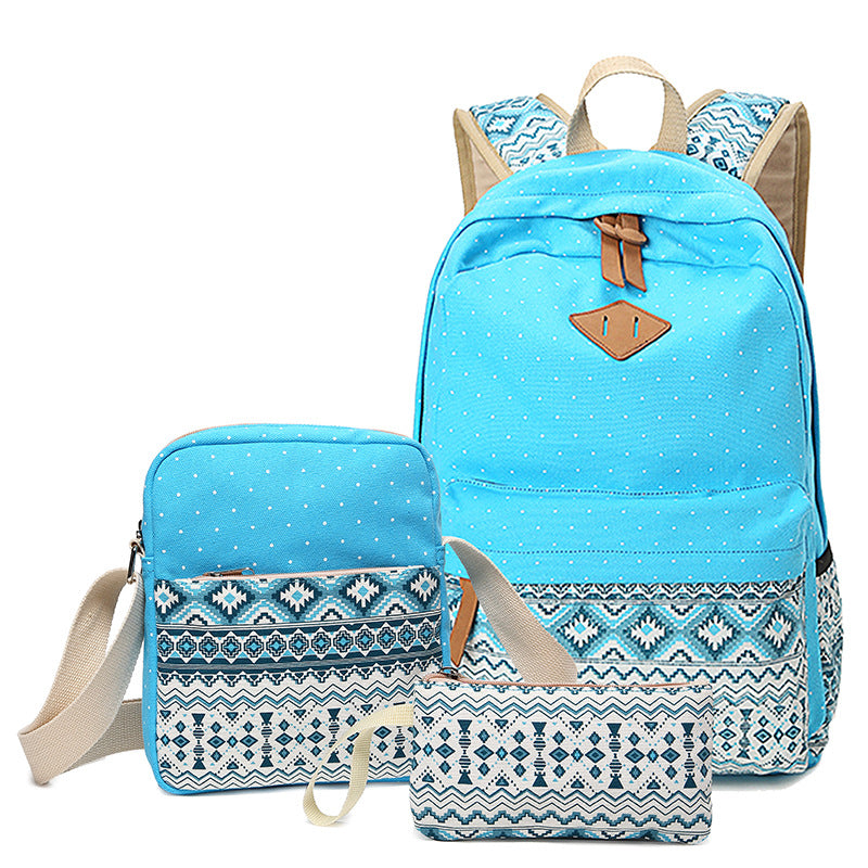 CVB010 Wholesale canvas waterproof high school back pack 3 in 1 bagpack set custom printed backpack