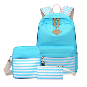CVB011 Custom logo waterproof canvas school bag set student backpack with usb charging port