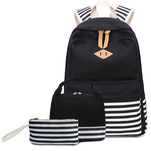 CVB012 Wholesale custom logo new canvas waterproof 3 in 1 backpack set school bags 2020