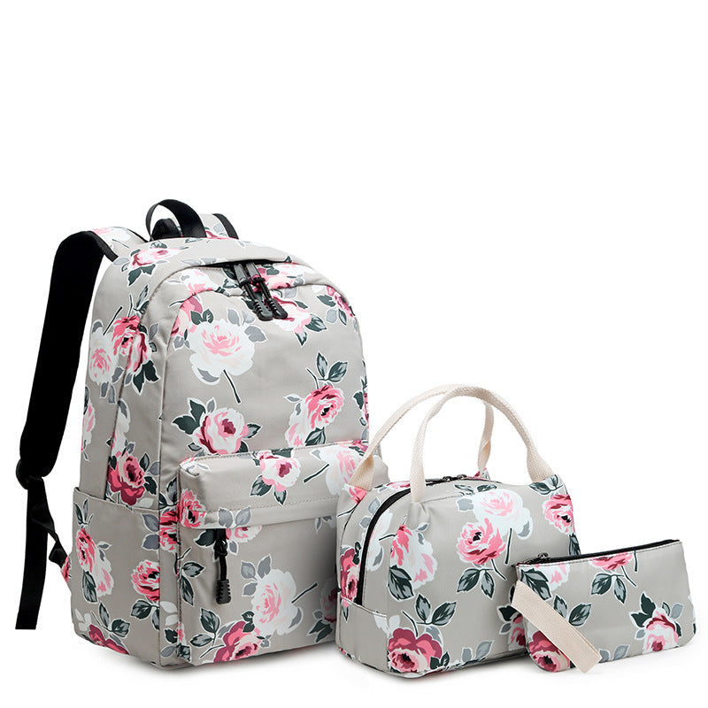 CVB014 Online shopping canvas 3 in 1 back pack set backpack and insulated lunch bag for school