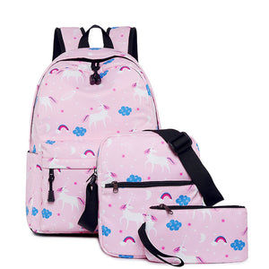 CVB017 China suppliers new unicorn design casual girl backpack kids school bags set 3 pieces