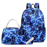 Load image into Gallery viewer, CVB018 New 2020 lightning printed school bag and lunch bag set student backpack set for women