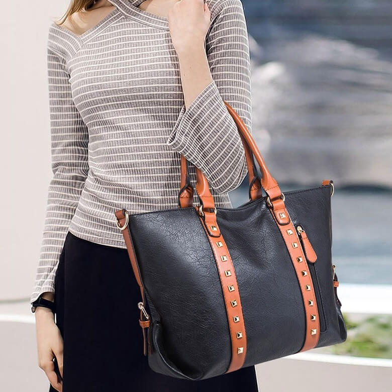 E3234 Wholesale Custom logo vintage big bag PU leather handbag women